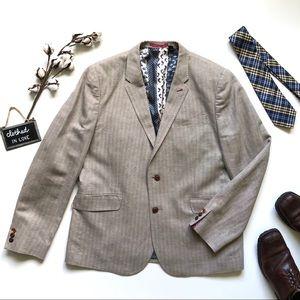 Ted Baker London Tan Herringbone Sport Coat Jacket